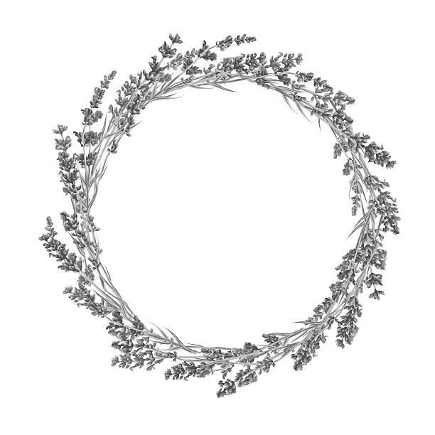 Circle of lavender flowers